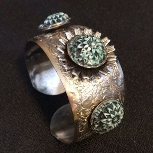 Anthropologie Etched Silver Turquoise Flower Cuff